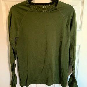 Green long sleeve workout shirt.
